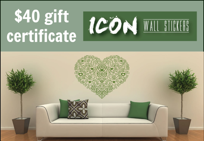 $40 Gift Certificate to Icon Wall Stickers - - 1 of 6 prizes in The Thinking Closet's Blogiversary Giveaway!  9/6 - 9/11