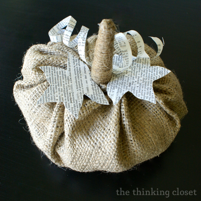 Easy to make burlap and book page pumpkin. D.I.Y. Fall Decor!