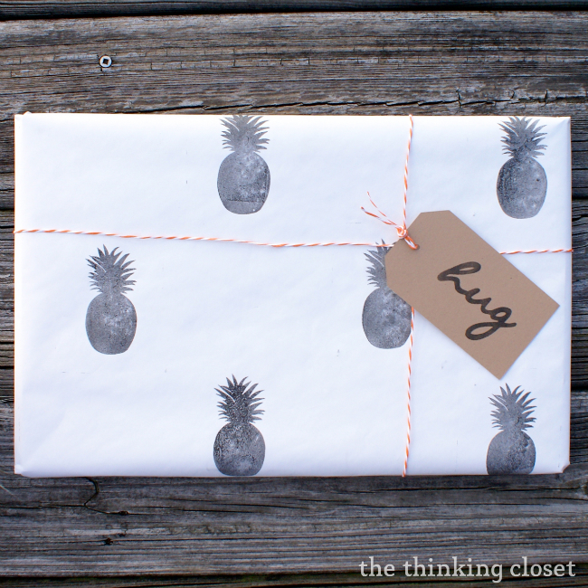 Stamped Wrapping Paper Tutorial by The Thinking Closet
