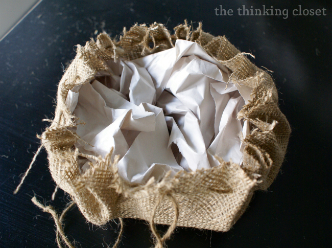 Stuff Pumpkin with scrap newsprint or tissue paper.