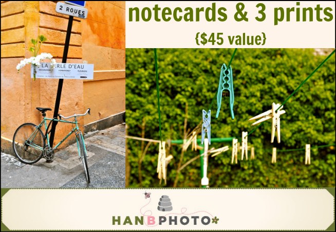 Set of Notecards & 3 prints {$45 value} from hanbphoto - - 1 of 6 prizes in The Thinking Closet's Blogiversary Giveaway!  9/6 - 9/11