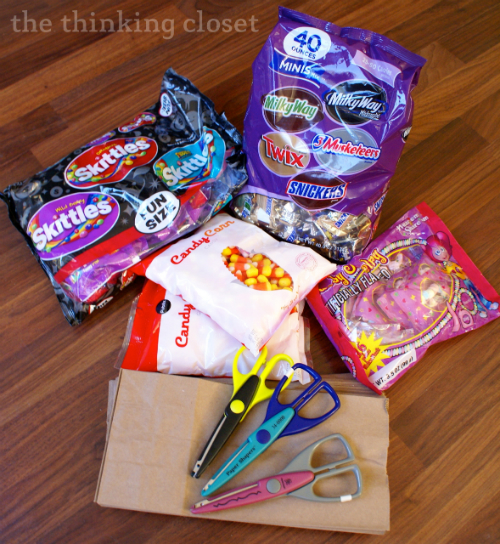 Supplies for stocking my Halloween Party Treat Bags via thinkingcloset.com