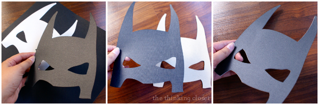 Applying adhesive-backed cardstock to chipboard to create photo booth props!  Via thinkingcloset.com