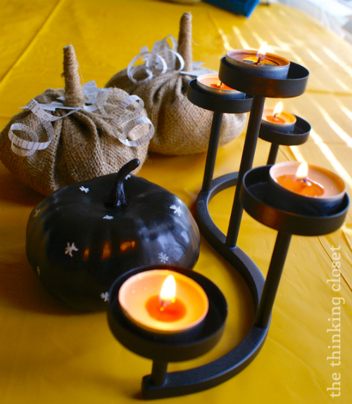 Chalkboard Pumpkin with Burlap Pumpkins - - shabby chic fall decor you can easily d.i.y.  via thinkingcloset.com