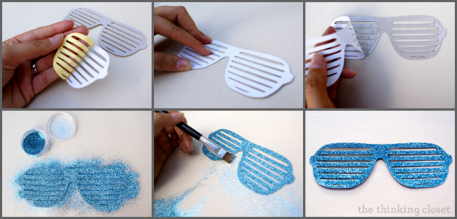 Using double-sided adhesive and glitter to create DIY photo booth props!  via thinkingcloset.com