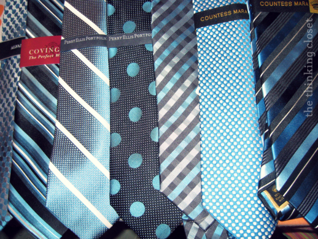 Wedding gift idea for groomsmen: unique ties all within the wedding color palette.  via thinkingcloset.com