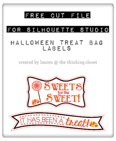 Halloween Treat Bag Labels - Free Cut File for Silhouette Studio via thinkingcloset.com