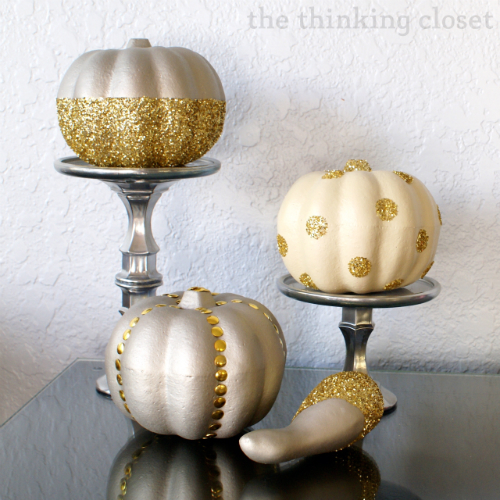 Glitter Glam Pumpkins & D.I.Y. Pedestals using supplies from...wait for it...Dollar Tree!  Crazy, right?  via thinkingcloset.com