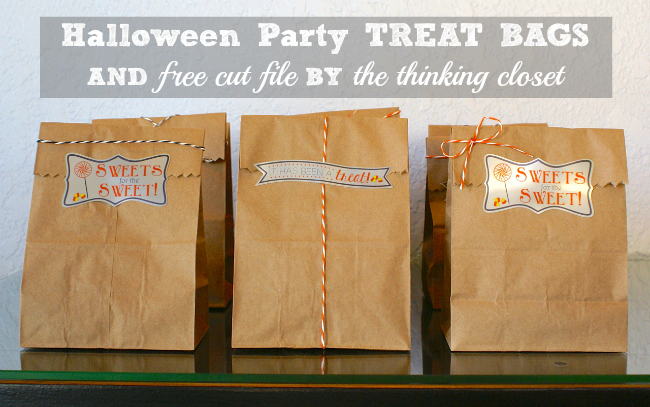 Halloween Party Treat Bags - - Tutorial on How to Create Custom Labels. Free Cut File included! via thinkingcloset.com