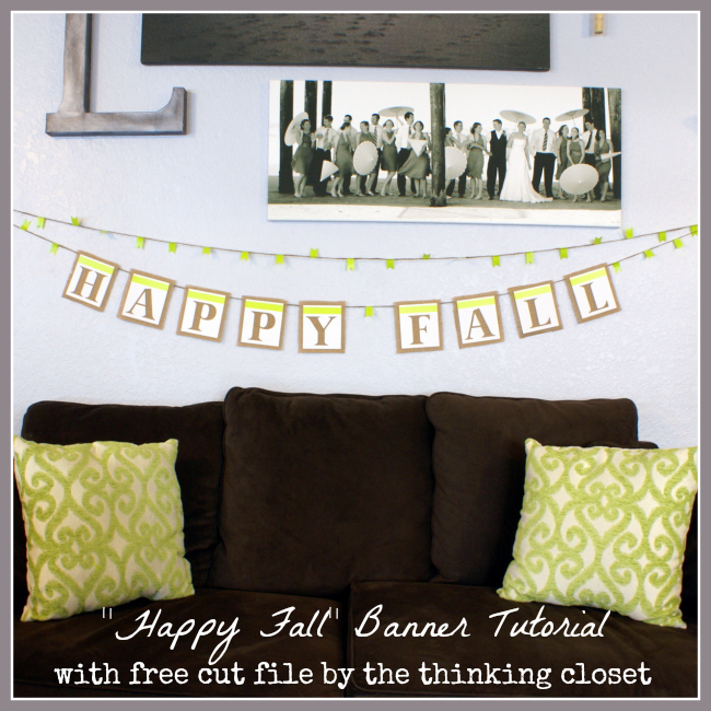 """Happy Fall"" Banner Tutorial & Free Cut File via thinkingcloset.com"