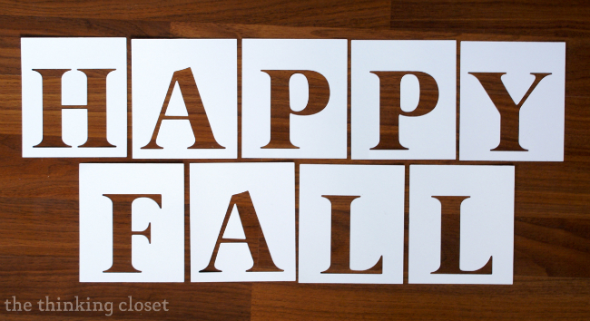 """Happy Fall"" text cut on cardstock via thinkingcloset.com"