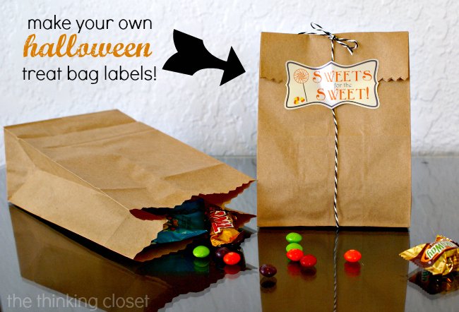 Make Your Own Halloween Treat Bag Labels with your Silhouette!  Tutorial and free cut file via thinkingcloset.com