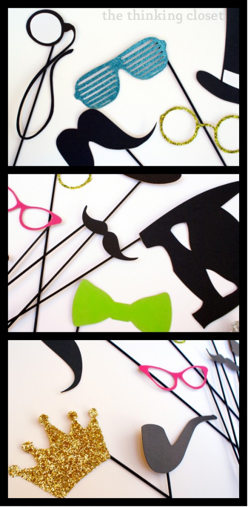 diy photo booth props tutorial and free cut file via