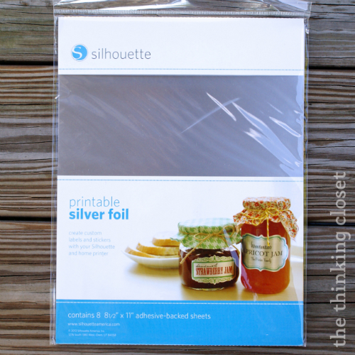 Silhouette brand Printable Silver Foil...perfect for making custom labels!  via thinkingcloset.com