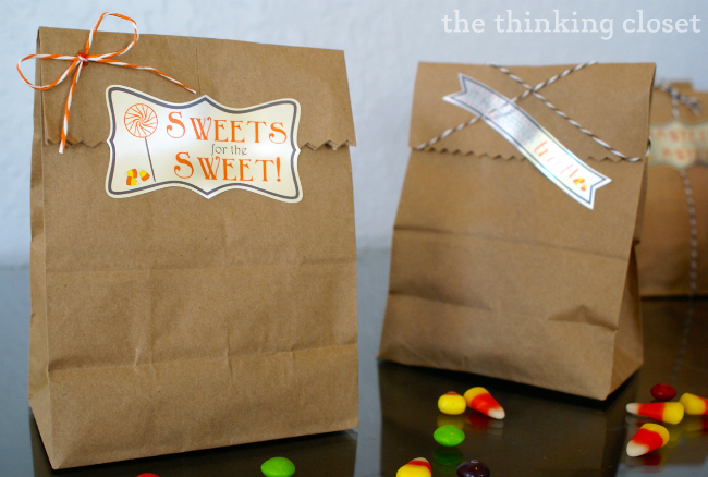 """Sweets for the Sweet"" - - one of two free cut files for Silhouette Studio shared in a Halloween Treat Bag Tutorial! via thinkingcloset.com"