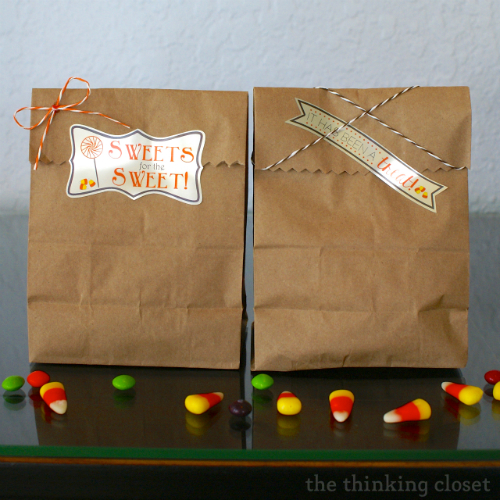 Halloween Party Treat Bags & Free Cut File for Custom Labels via thinkingcloset.com