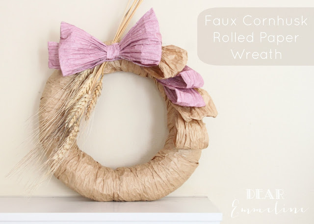 Faux Cornhusk Wreath | Dear Emmeline