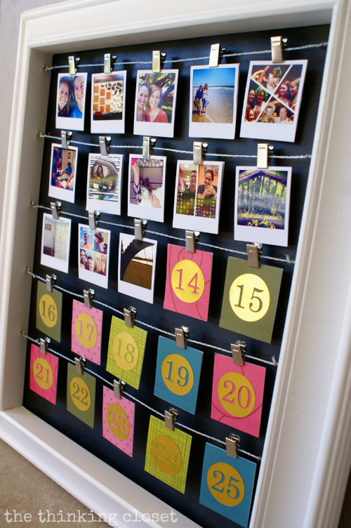 DIY Instagram Advent Calendar. Such a fun way to look back at highlights from the year while counting down the days till Christmas!