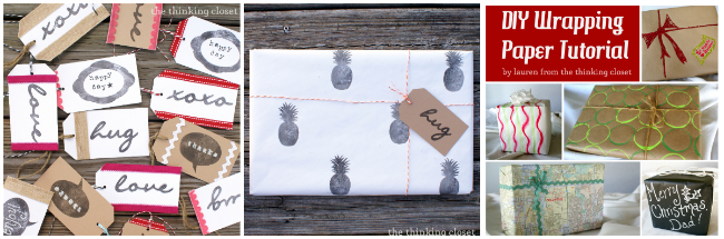 DIY Wrapping Paper & Gift Tag Ideas over at thinkingcloset.com