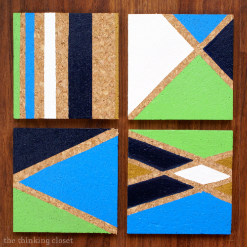 DIY Painted Cork Coasters - - Color-blocking for a more modern approach.  Super inexpensive gift idea.
