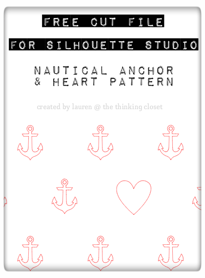 Free Cut File for Silhouette Studio: Nautical Anchor & Heart Pattern by Lauren @ The Thinking Closet