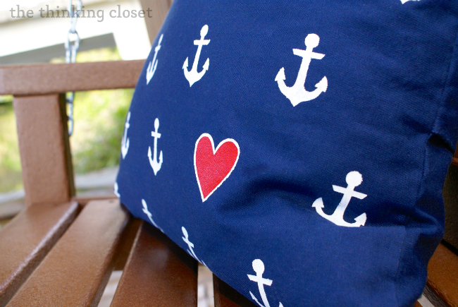 DIY Nautical Anchor Pillow Tutorial (with heart detail) via thinkingcloset.com