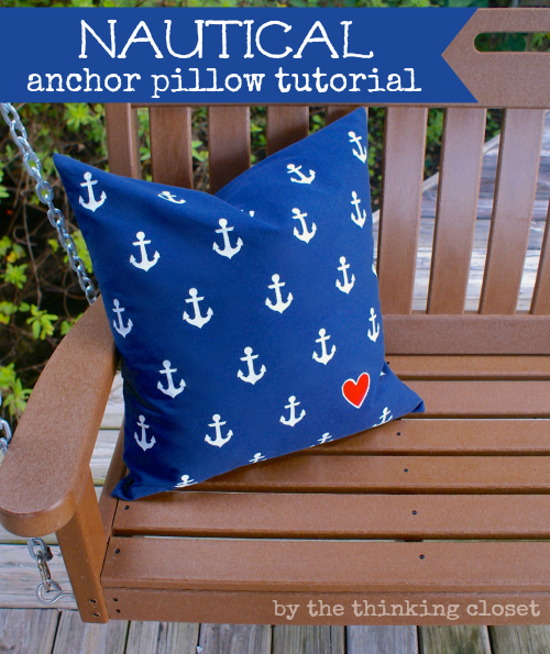 Nautical Anchor Pillow Tutorial - Tips for freezer paper stenciling via thinkingcloset.com