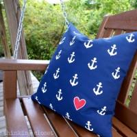 DIY Nautical Anchor Pillow Tutorial via thinkingcloset.com