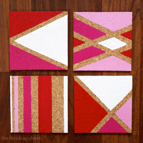 DIY Painted Cork Coasters.  Easy and inexpensive gift idea!