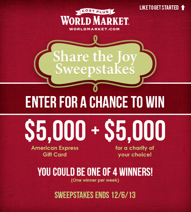 """Share the Joy"" Sweepstakes! by World Market"