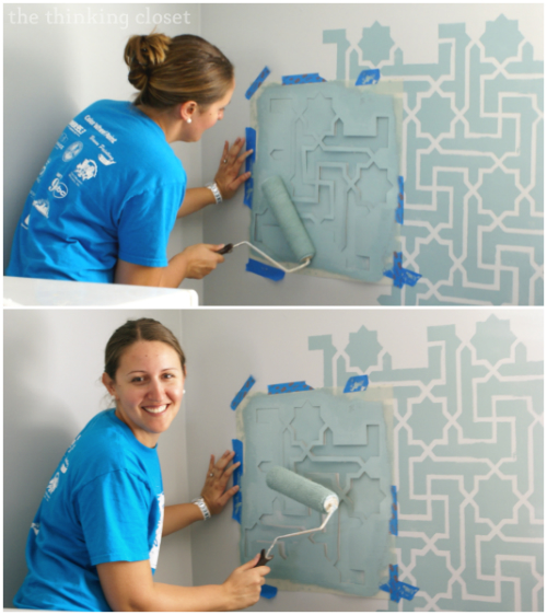 "Stenciling as part of our ""Share the Joy"" service project at the Central Florida Children's Home Office!"