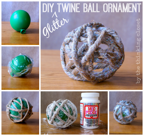 DIY {Glitter} Twine Ball Ornament - - gotta love rustic glam holiday decor!