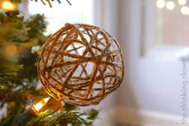 "DIY {Glitter} Twine Ball Ornament.  Add some ""rustic glam"" to your holiday!"