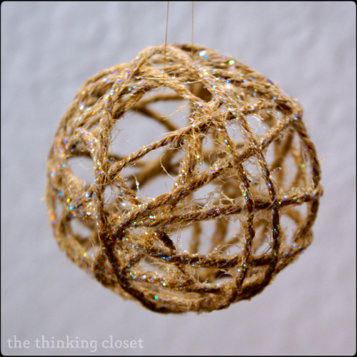 DIY {Glitter} Twine Ball Ornament.  Easy to follow step-by-step tutorial!