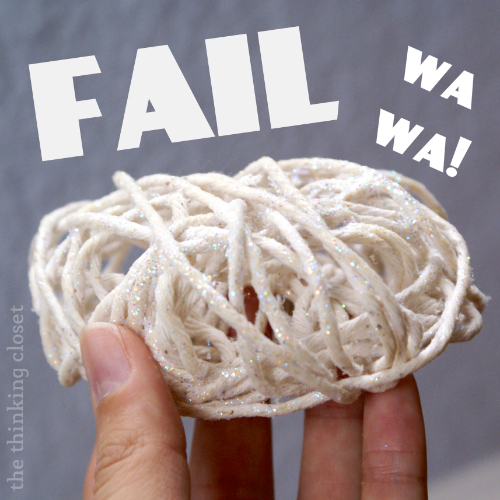 Twine Ball Ornament FAIL.  Wa wa!!!