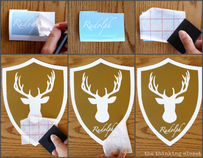 Add the reindeer names to the gold deer head shields.  The next step in the Reindeer Head Holiday Banner!