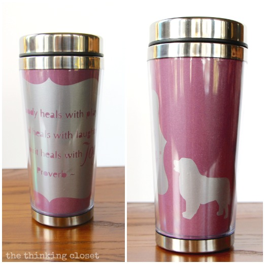 Personalized Insulated Mug!   A fun and easy Silhouette vinyl project.
