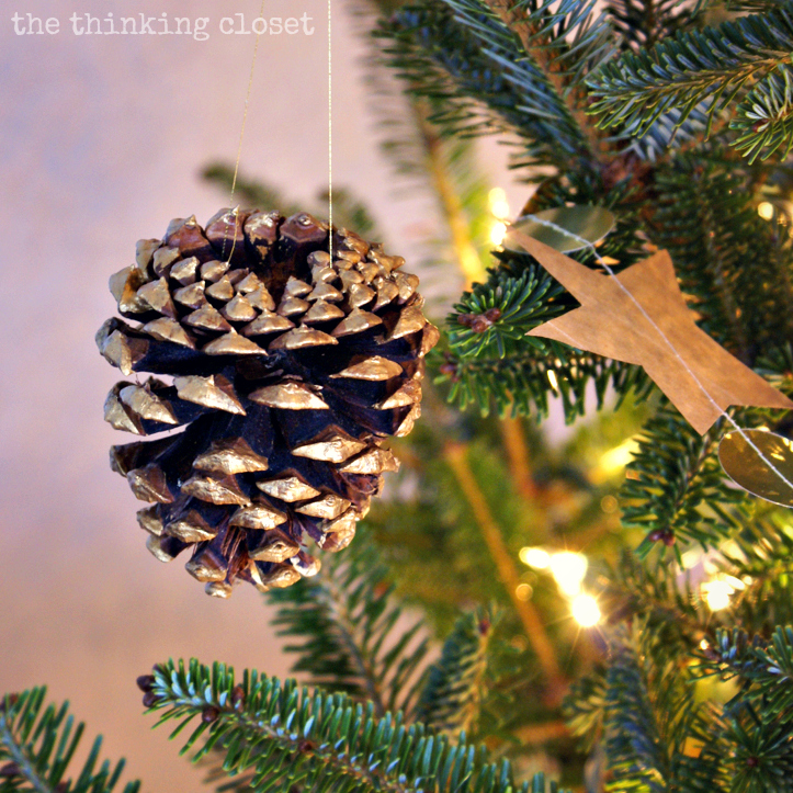 Gold-Brushed Pine Cone Ornament...adding some rustic glam to your holiday decor!