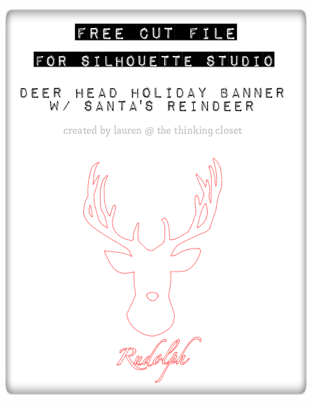 FREE Cut File for Silhouette Studio: Deer Head Holiday Banner featuring Santa's Reindeer.