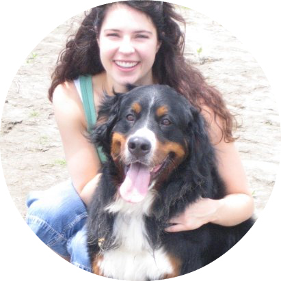 Joy the Bernese Mountain Dog and her owner, my SIL, Ashlee.
