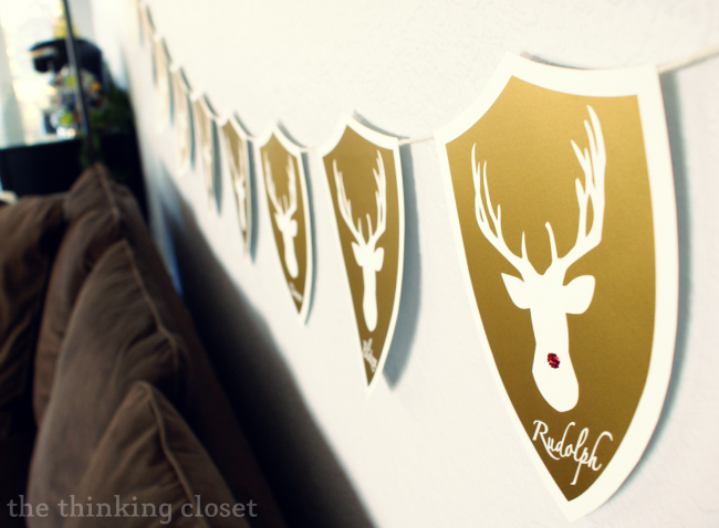 Deer Head Holiday Banner featuring Santa's Reindeer!  Full tutorial includes FREE Silhouette cut file.