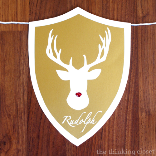 Rudolph!  The star of the Deer Head Holiday Banner featuring Santa's Reindeer.  Tutorial and FREE cut file at thinkingcloset.com