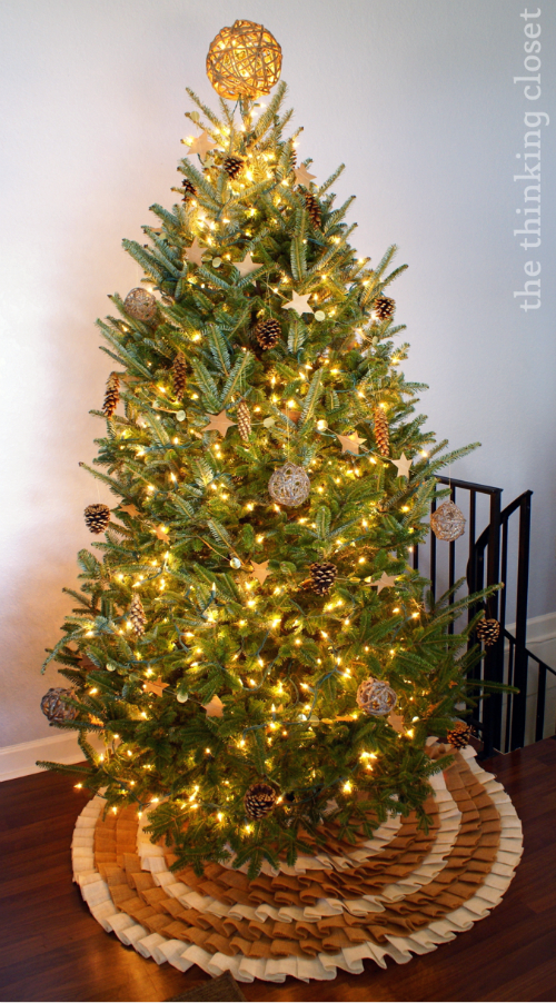 Rustic Glam Christmas Tree...featuring brushed gold pine cone ornaments!