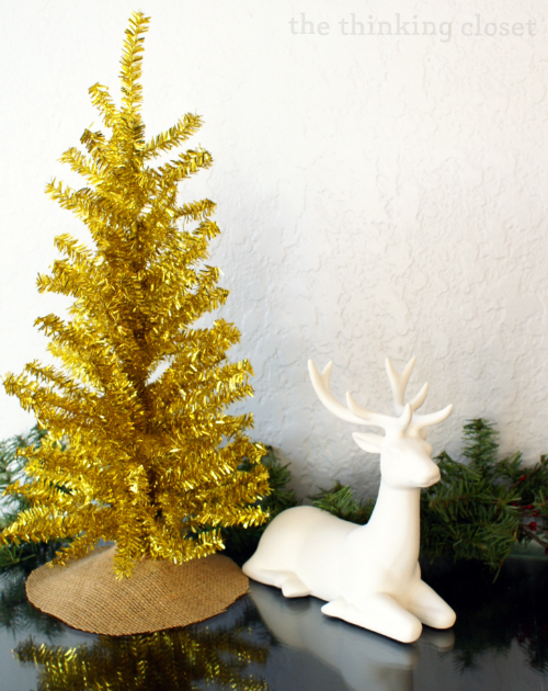 Fantle decor items...a white deer and gold Christmas tree with mini burlap tree skirt!
