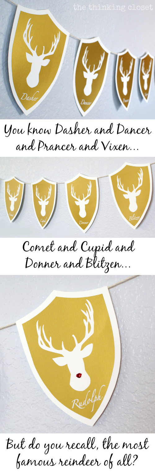 Deer Head Holiday Banner...featuring Santa's Reindeer!  A holiday twist on the classic deer head decor!
