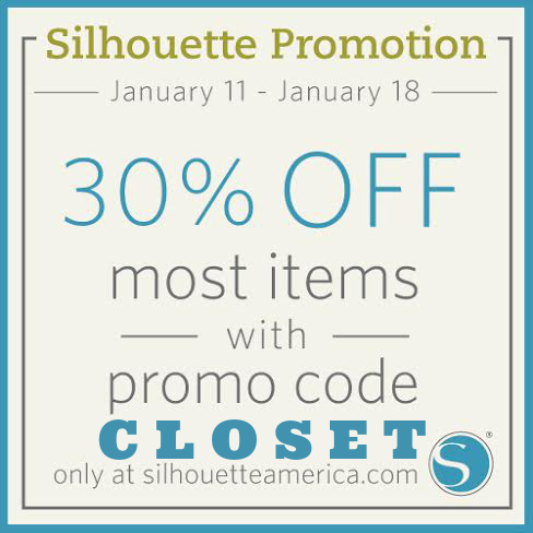 30% Off Silhouette Supplies using the code CLOSET from Jan 11 - 18!
