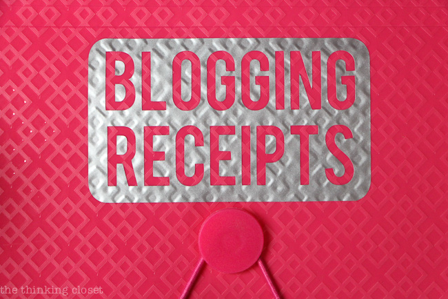 Organize those blog receipts with an accordion file JUST for those blogging purchases you make.  Come tax season, you'll be sittin' pretty!