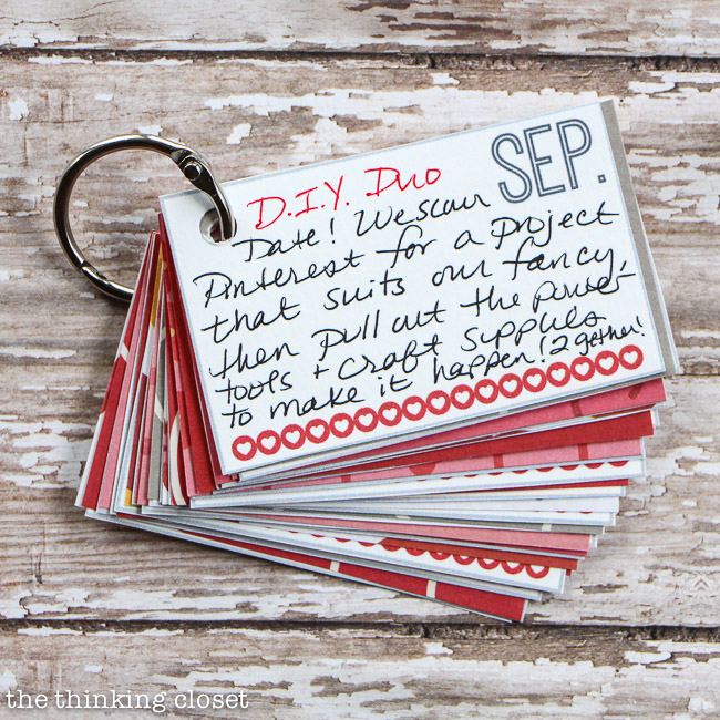 Creative Valentine's Day Gift Idea...a mini-book with pre-planned date nights!   FREE Printable via thinkingcloset.com
