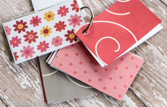 Insert colorful paper in between your mini-cards for added whimsy!