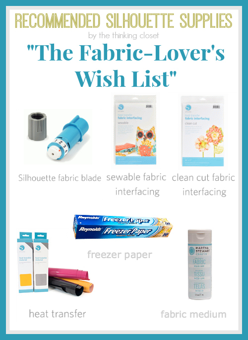 Recommended Silhouette Supplies for The Fabric Lover!